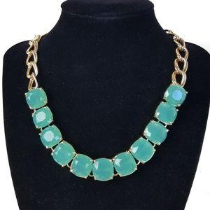 Seafoam Green/ Blue Glass Statement Necklace